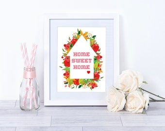 SALE, Home Sweet Home Print, typography print, new home gift, floral print, housewarming present,