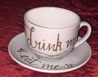 Drink me, Eat me teacup and saucer // alice in wonderland inspired set // handwritten // heat embossed // perfect quirky gift