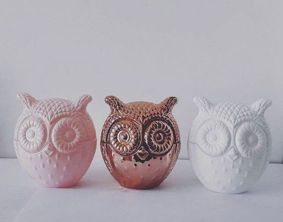 Owl Soy Wax Candle Home Decor Candle Pink Copper