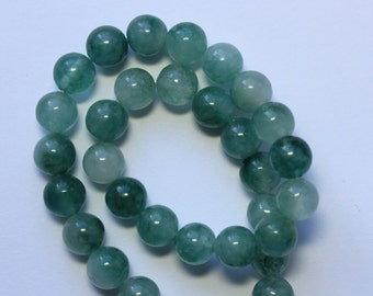 8mm Green and White Beads Teal and White Two Tone Jade Rounds 14 inch Strand 45 Beads Stone Gemstone