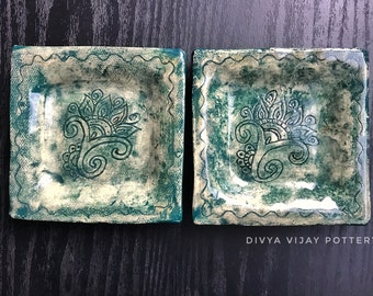 Square Handmade Stoneware Plates (Set of 2)/ Appetizer Plates/ Jewelry Dish/ Key holder/ Henna Motif Carving