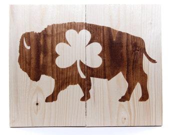 Buffalo NY standing bison shamrock reclaimed pallet wood wall art