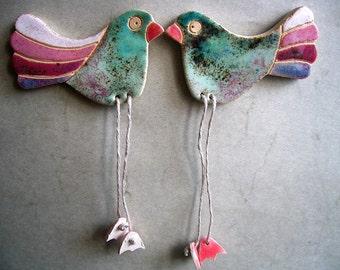 Birds Fridge Magnets, Set of 2, Fridge Magnets Set, Ceramic bird magnet, Cute fridge magnet