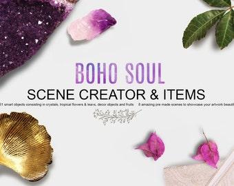 Boho Soul Scene Creator - Boho mockup - Crystal mockup - Amethyst Mockup - Tropical Mockup - Feminine Mockup