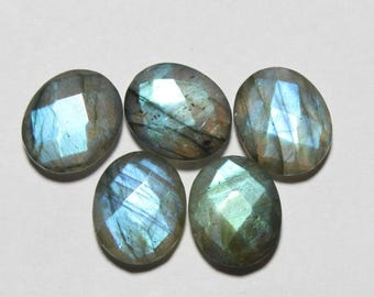 40% Off 5 Pcs Natural BLUE LABRADORITE, 10x12 mm Size, Oval Shape Gemstone, Both Side Checker Cut  +++ AAA Quality Briolettes Lb#197