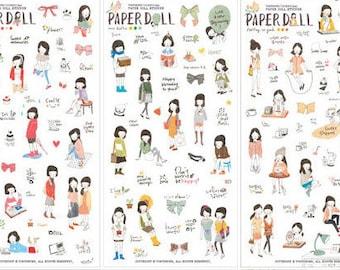 6pcs PaperDoll Sticker,Label Sticker, Stationery Sticker, Scrapbooking Sticker, Planner Stickers, Decorative Stickers