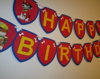 Paw Patrol Happy Birthday Banner, Paw Patrol Birthday Party