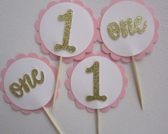 Pink and white birthday cupcke toppers, First birthday girl cupcake toppers, Any birthday girl cupcake toppers