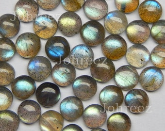 10 pieces labradorite 6 mm round flat back gemstone cabochon High Quality