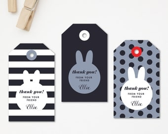 Bunny Birthday Tag. Girl Birthday Thank you Tag (DIY Printables)