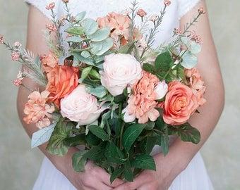 Peach Blush Pink Bouquet, Rose Bouquet, Silk Flower Bridal Bouquet, Wedding Flowers, Eucalyptus, Bride Bouquet, Spring Bouquet
