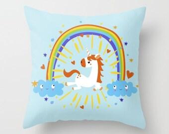 Cute Unicorn Throw Pillow Nursery Pillow Kids Room Pillow Kids Decor Kids Gift Nursery Throw Pillow Christmas Gift Unique Rainbow Unicorn