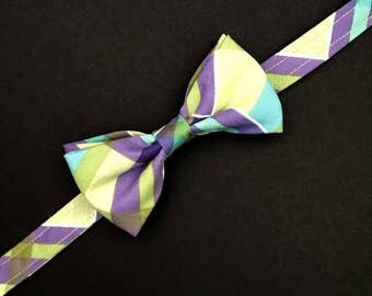 Boys Lavender and Sage Plaid Bow Tie, Plaid Bow Tie, Sage and Lavender Bow Tie, Green and Lilac Bow Tie, Adjustable Bow Tie, Baby Bow Tie