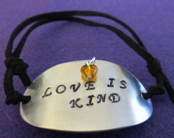 "Birthstone ""Love Is Kind"" sliding knot Bracelet, will put your birthstone on the Bracelet"
