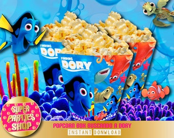 Finding Dory Printable Party Popcorn box, Custom Party, Finding Nemo,Birthday