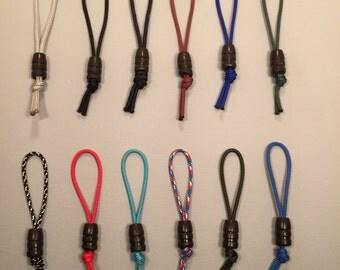 357 rubber bullet zipper pulls w/ #95 paracord