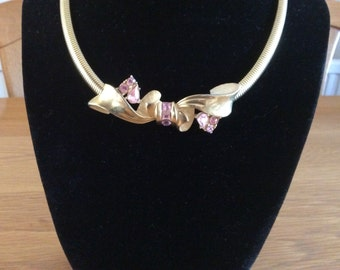 Stunning Vintage Signed Givenchy Gold Tone Bow with Pink Diamante Choker Necklace.