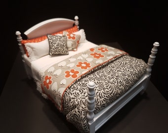 Miniature dressed bed 1:12 scale