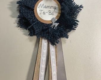 Custom Baby shower rustic to be pins Deer Silver Blue Burlap Flower Navy