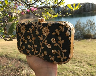 Black box clutch,black and gold box clutch, black evening clutch, black floral clutch,black party purse, gold clutch, black evening bag