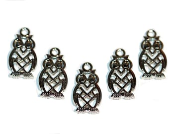 Charms Owl Charms Silver Tone Cutout Owls Rhodium Plated Nickel Free Owl Charms Bracelet Charms 5 Pieces