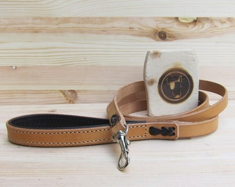 Leather Dog Leash - Natural Leather - Distressed Leather - Handcrafted Dog Leashes - Italian Premium Leathers - Solid Brass