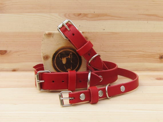 Dog Collar in Red Leather - Plain Collar for Small and Large Dogs - Gift Idea for Dog Lovers - Italian Handcrafted Pet Supplies - YupCollars