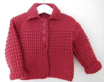 Baby girls cardigan, Baby girl jacket, Baby cardigan, Handknit baby cardigan, Baby knit, Baby girl knit