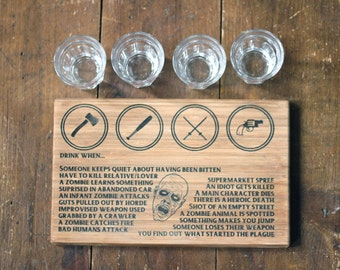 Zombie drinking game with four bloody shot glasses, great for horror fans of Walking Dead or Dawn of the Dead etc