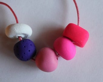 Neon Pink and Purple Polymer Clay Bead Necklace