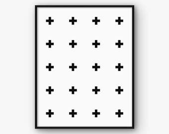 Swiss Cross Print, Scandinavian Print, Swiss Cross Wall Art, Scandinavian Decor, Minimalist Decor, Scandinavian Art, Instant Download