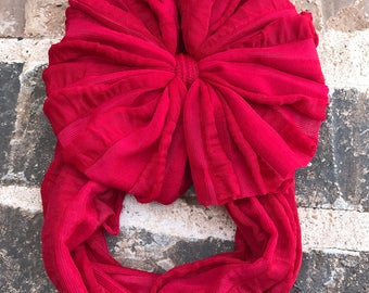 Deep Red Ruffle Messy Bow Headband