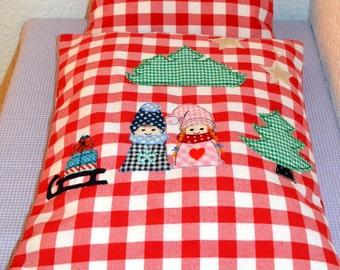 "Dolls bed linen ""Winter IMP"""