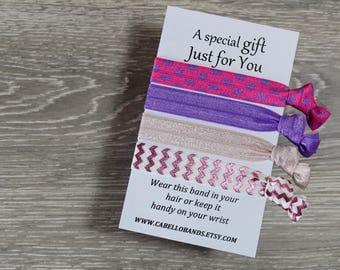Gift for Girl - Pink Hair Band - Purple Hair Band - Friendship Band - Elastic Hair Band