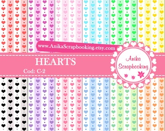 Digital Papers of Hearts - Scrapbook papers-  Digital Backgrounds - Decorative paper - COD: C-2