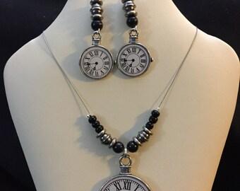 Steampunk Clock jewelry set