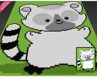 Little Lemur crochet blanket pattern; c2c, cross stitch; graph; pdf download; no written counts or row-by-row instructions