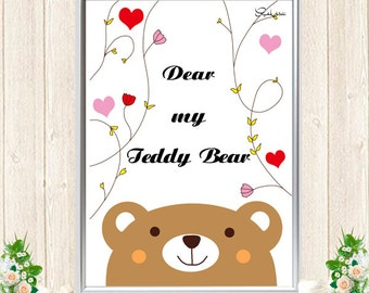 We love Teddy Bear. Art prints, Home decor wall art, Kids wall art, Nursery wall art, Nursery decor.