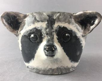 Clearance - Cute Handmade Raccoon Shaped Ceramic Mug (The Karen)  - CANNOT HOLD WATER