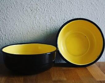 Black/Yellow Enamel Bowls Set