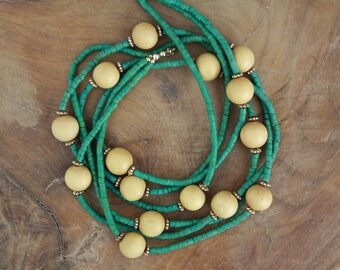 Long Green Beaded Necklace With Wooden Balls