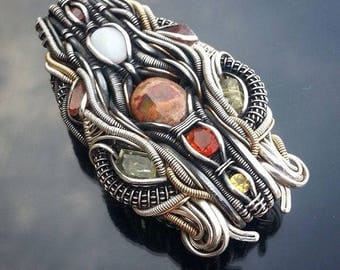 Opal, apatite, sapphire and rhodochrosite Silver and Gold-fill Wire Wrapped Pendant