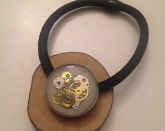 Round Steampunk White Ponytail Holder, Watch Gear Ponytail Elastic Tie, Ponytail Holder, Resin Hair Accessories, AA310517