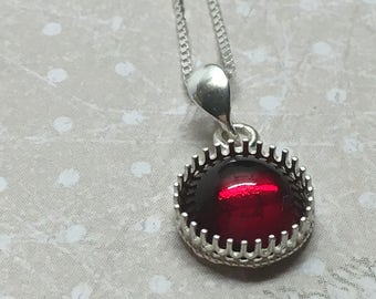 Silver necklace 925/1000 and Swarovski Siam red.