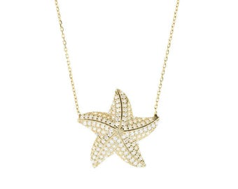 22ct gold plated sterling silver starfish necklace