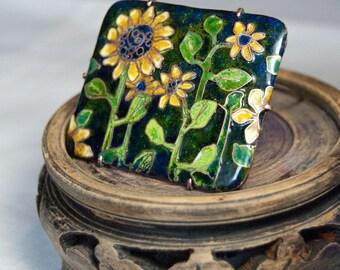 Sunflower jewelry, Enamel brooch Sunflowers, Yellow Flower Brooch, Sun Flower Jewelry Pin, Botanical Jewelry