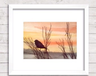 Watercolor landscape painting, Original Nature art, Sunset Bird Painting, Orange Painting, Peaceful setting of the mist on the marsh