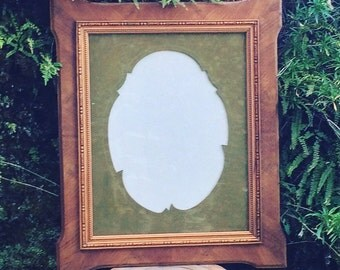 Large wood and frame matted cutting graceful lichen color. 1920/1930. french vintage. Price is for 1 frame.