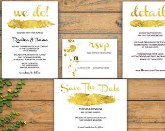 Gold wedding invitation, Wedding Invitation printable, Wedding Invitation Template, Faux Gold, Printable Wedding Invitation, Wedding set PDF