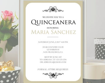Quinceanera invitation template – Etsy